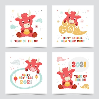 Chinesische neujahrsgrußkarte, jahr des ochsen