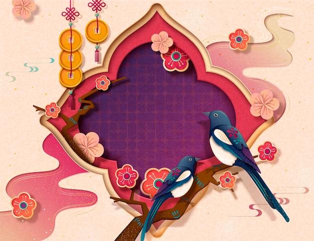 Chinesische neujahrsvorlage mit pica pica und pflaumenblüten im papierkunststil, platz für grußworte kopieren