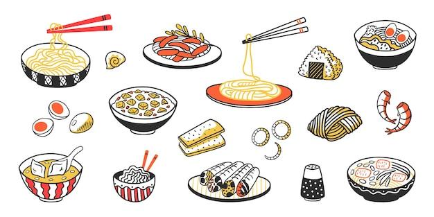 Chinesische nudeln köstliche suppenfleischscheiben und saucen