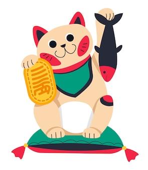 Chinesische oder japanische katzenstatuette mit fischvektor