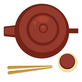 Chinesische oder japanische teezeremonie mit keramikkochgeschirr, heißer teekanne mit tasse und stäbchen. exotische küche und traditionen orientalischer länder. asiatische küche und rituale. vektor im flachen stil