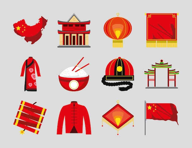 Chinesische pagode laterne kleidung flagge