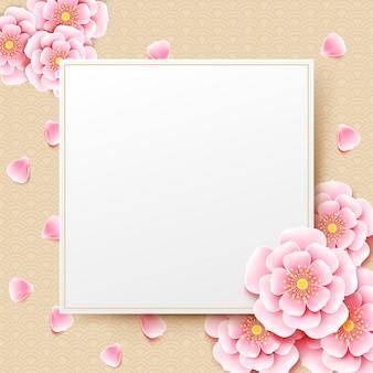 Chinesische pflaumenblütenblume mit chinesischem kunsthintergrund