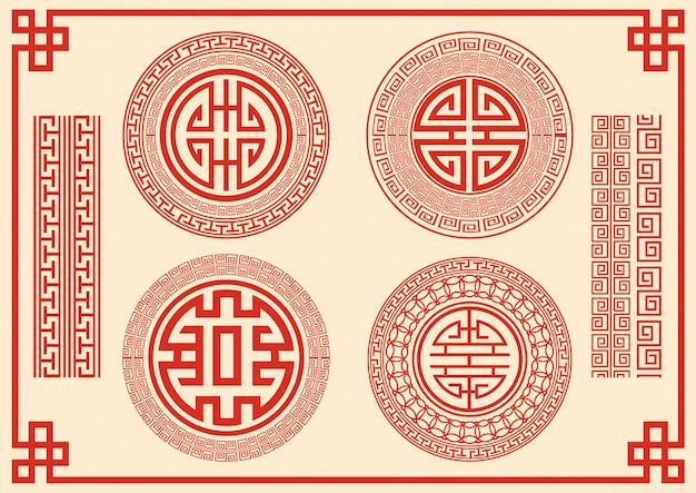 Chinesische rahmenart auf rotem hintergrund.