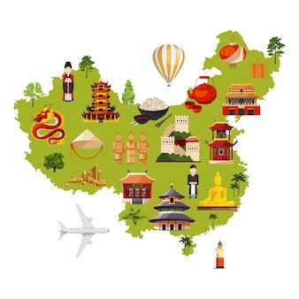 Chinesische reiseabbildung mit verschiedenen kulturellen gegenständen. vektorkarte in der karikaturart