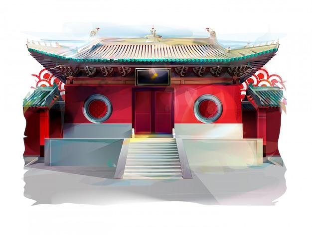 Chinesische tempelillustration