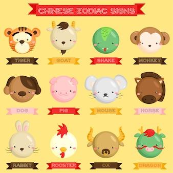 Chinesische tierkreis-ikonen