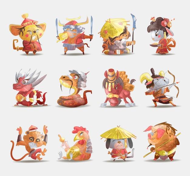 Chinesische tierkreistiere karikatursatz von kaninchenhund affe schwein tiger tiger pferd ziege schlange hahn ochse ratte isoliert cartoon hand gezeichnete illustration