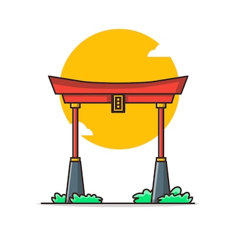 Chinesische torbogen-karikaturillustration. chinesisches neujahrskonzept isoliert. flacher cartoon-stil