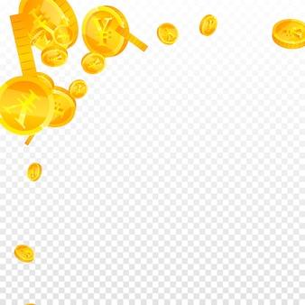 Chinesische yuan-münzen fallen. bewundernswerte verstreute cny-münzen. china-geld. hübsches jackpot-, reichtums- oder erfolgskonzept. vektor-illustration.