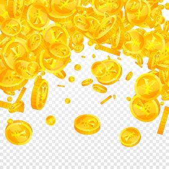 Chinesische yuan-münzen fallen. ekstatische verstreute cny-münzen. china-geld. wertvolles jackpot-, reichtums- oder erfolgskonzept. vektor-illustration.