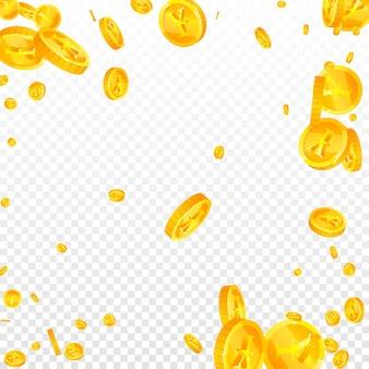 Chinesische yuan-münzen fallen. fabelhafte verstreute cny-münzen. china-geld. jackpot, reichtum oder erfolgskonzept holen. vektor-illustration.