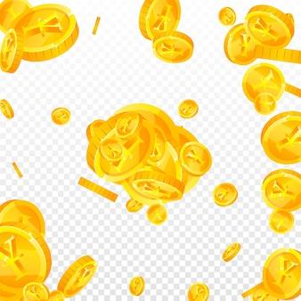 Chinesische yuan-münzen fallen. lebendig verstreute cny-münzen. china-geld. großes jackpot-, reichtums- oder erfolgskonzept. vektor-illustration.