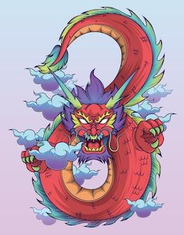 Chinesischer drache curl up in acht