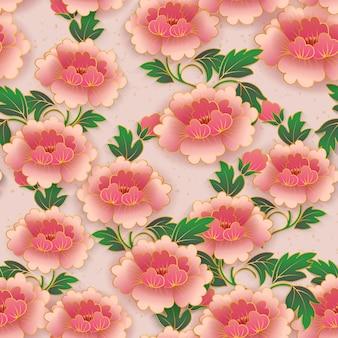 Chinesischer eleganter botanischer garten rosa rote pfingstrosenblume nahtloser musterhintergrund.