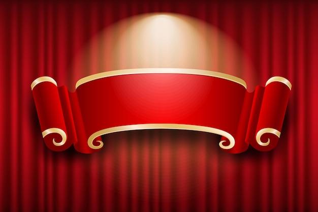 Chinesischer fahnenentwurf auf rotem vorhang beleuchtet hintergrund, illustration
