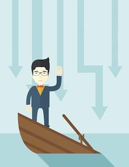 Chinesischer geschäftsmann des ausfalls, der auf einem sinkenden boot steht.