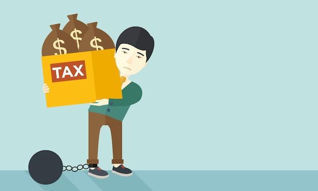 Chinesischer geschäftsmann in schulden gesperrt