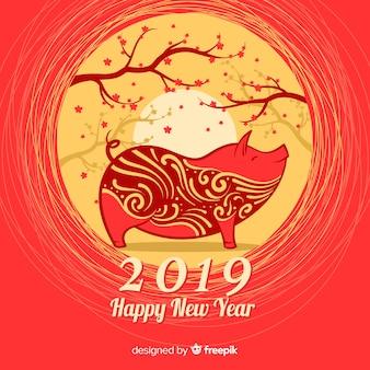 Chinesischer Hintergrund des neuen Jahres der Bäume