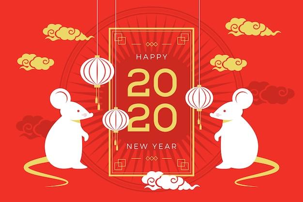 Chinesischer hintergrund des neuen jahres des flachen designs