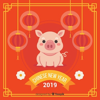 Chinesischer hintergrund des neuen jahres des flachen schweins