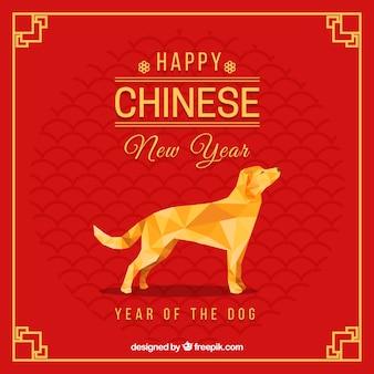 Chinesischer hintergrund des neuen jahres mit polygonalem hund