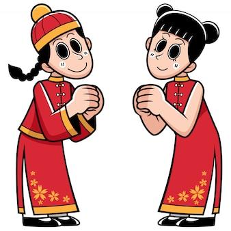 Chinesischer junge und mädchen der karikatur im chinesischen kostüm