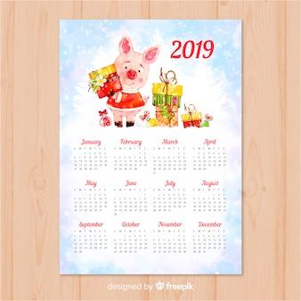 Chinesischer kalender des neuen jahres 2019 des aquarells