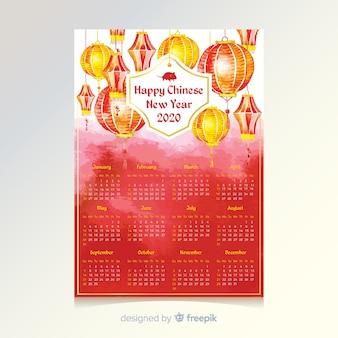 Chinesischer kalender des neuen jahres des aquarells