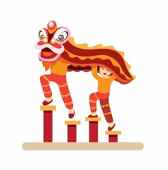 Chinesischer löwentanz, gong xi fa cai traditioneller tanz in der flachen illustration der neujahrskarikatur