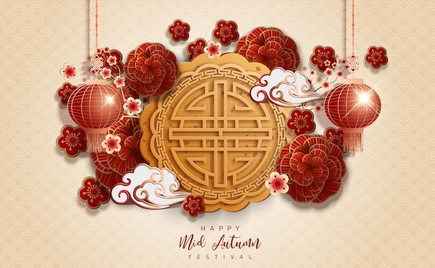 Chinesischer mittlerer herbstfestivalhintergrund des neuen jahres. das chinesische schriftzeichen