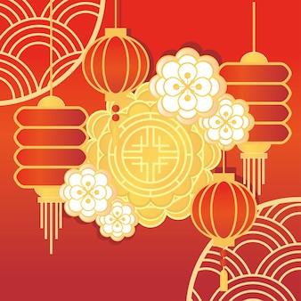 Chinesischer mondkuchen und blumen