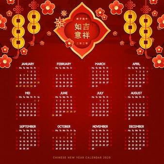 Chinesischer neujahrskalender im flachen design