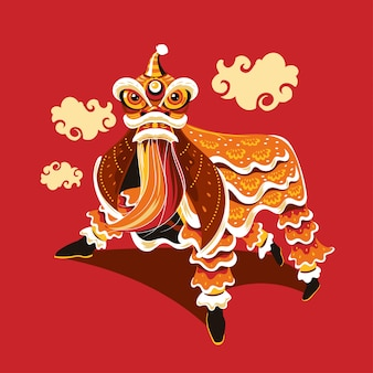 Chinesischer neujahrslöwentanz mit sprung- und schriftrollenvektor