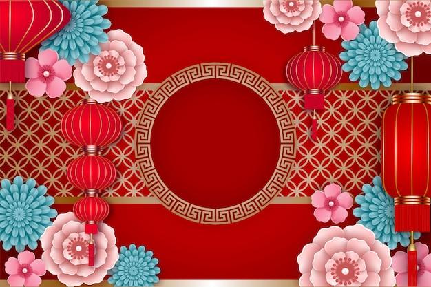 Chinesischer neujahrsrahmen mit roten laternen und blumen