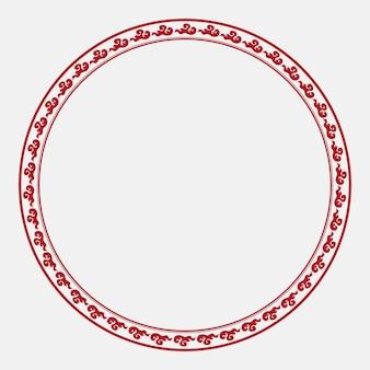 Chinesischer rahmenvektor traditionelles wolkenmuster roter kreis