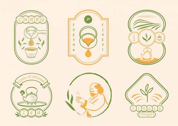 Chinesischer tee mit klassischem abzeichenstil
