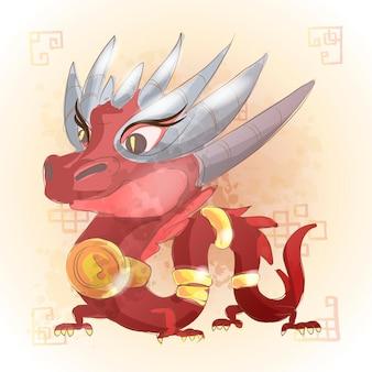 Chinesischer tierkreis tierkarikatur. drachen handgezeichneter charakter. vektordesign für ihre grußkarte, flyer, einladung, poster, broschüre, banner, kalender.