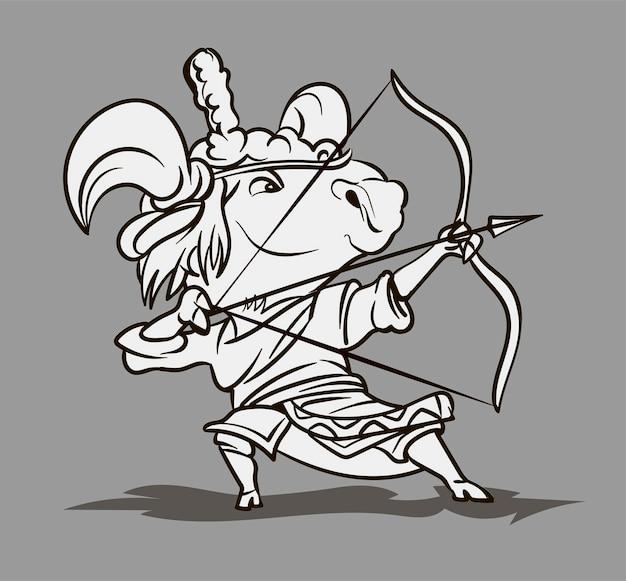 Chinesischer tierkreis tierkarikatur. malvorlage mit handgezeichnetem charakter der ziege. vektordesign für ihre grußkarte, flyer, einladung, poster, broschüre, banner, kalender. Premium Vektoren