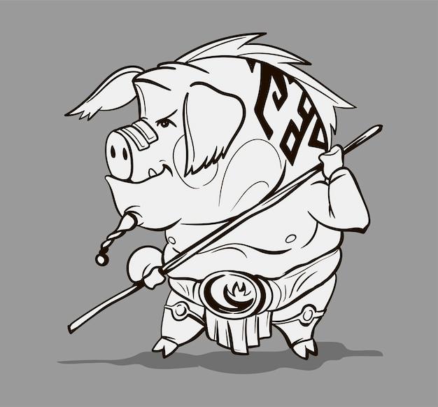Chinesischer tierkreis tierkarikatur. malvorlage mit schwein handgezeichneten charakter. vektordesign für ihre grußkarte, flyer, einladung, poster, broschüre, banner, kalender.