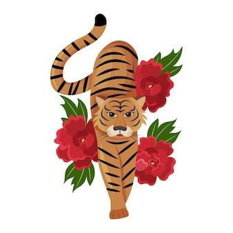 Chinesischer tiger auf dem hintergrund von hellen pfingstrosen