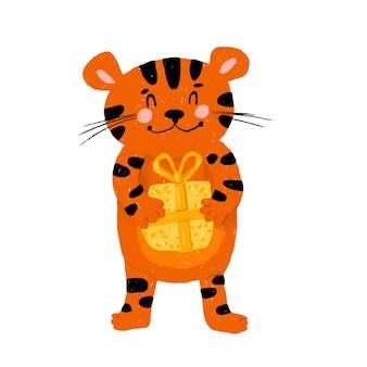 Chinesischer tiger mit einem geschenk in den pfoten. das symbol des neuen jahres nach dem östlichen kalender