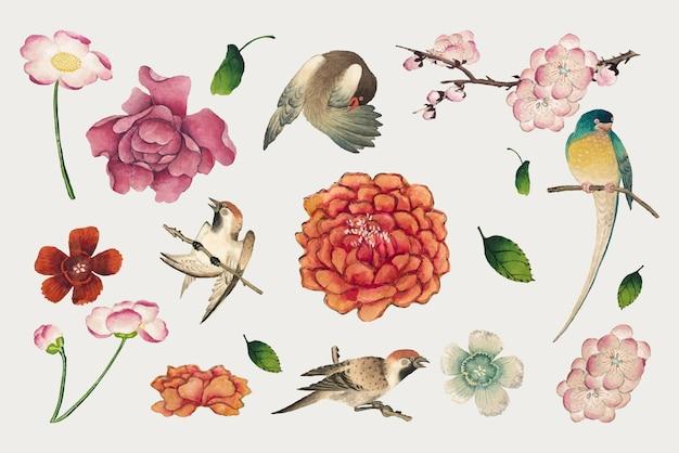 Chinesisches blumen- und vogelvektorset, remix aus kunstwerken von zhang ruoai