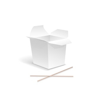 Chinesisches essen geöffnet weiß herausnehmen nudel-box mit stäbchen. behälter für schnellimbiß, asiatisches mittagessen, leere pappe
