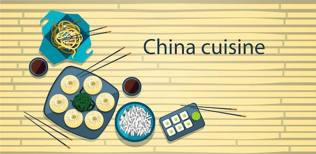 Chinesisches essen traditionelle asiatische küche bambus hintergrund