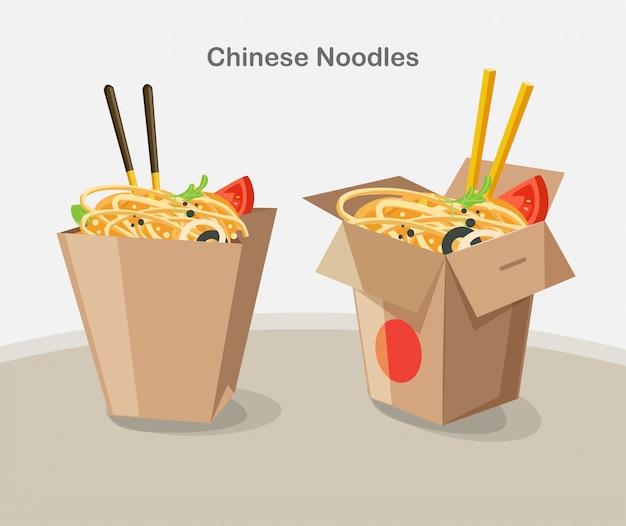Chinesisches essen zum mitnehmen box, take away box nudeln