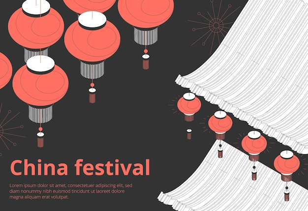 Chinesisches festival feiertagsveranstaltungen einladung zeitplan ankündigungen schwarzes isometrisches banner mit roten laternen