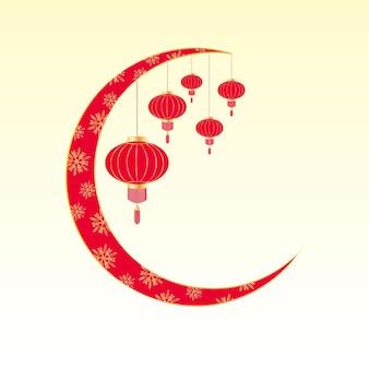 Chinesisches frühlingsfest. grußkarte mit hängender laterne Premium Vektoren