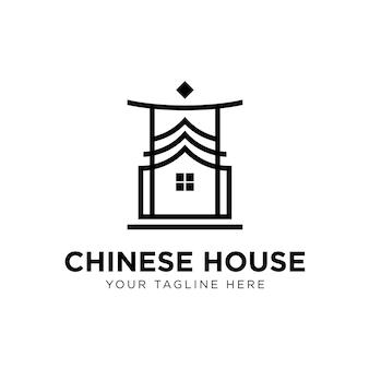 Chinesisches haus logo Premium Vektoren