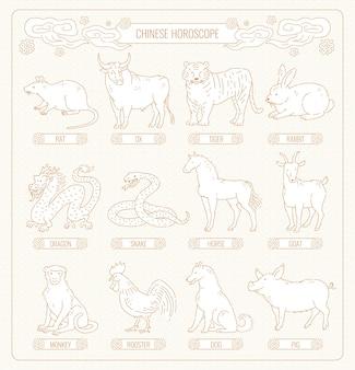 Chinesisches horoskop von zwölf tieren strichzeichnungen. stellen sie den östlichen astrologischen kalender ein
